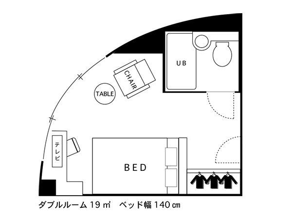 ホテルエリアワン千歳 / ◇禁煙◇ダブルベッドで広々シングル角部屋【19平米】
