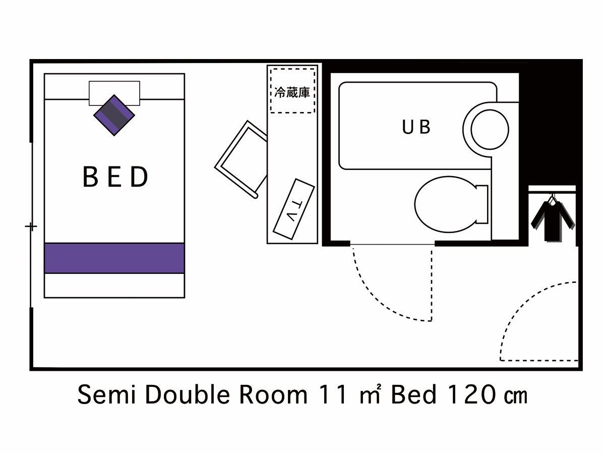 ホテルエリアワン大分 / ▼ 喫煙 セミダブルルーム 1 名様利用 SSD1