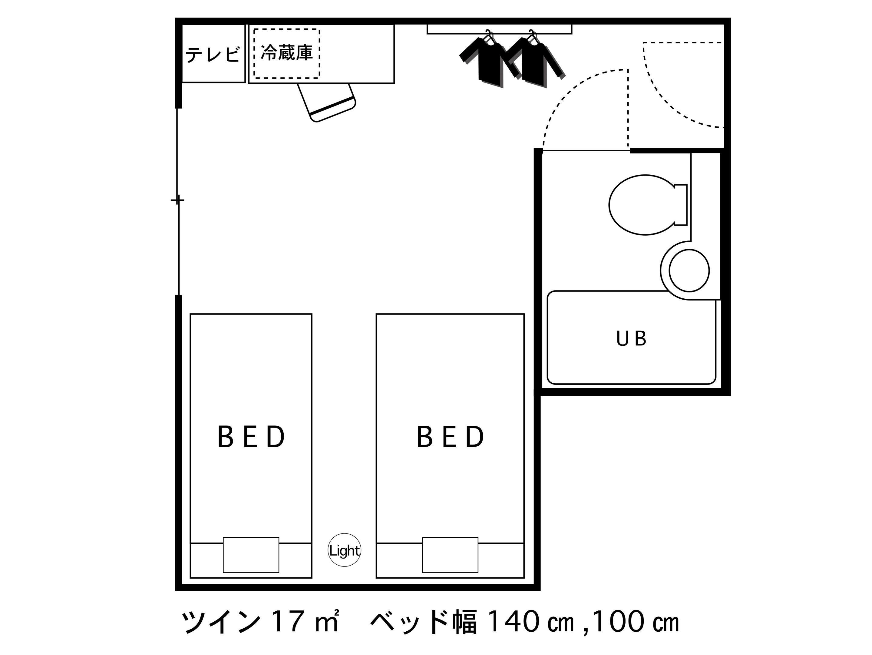 ホテルエリアワン高松 / 禁煙☆ツイン【17平米・120cmベッド・100cmベッド】