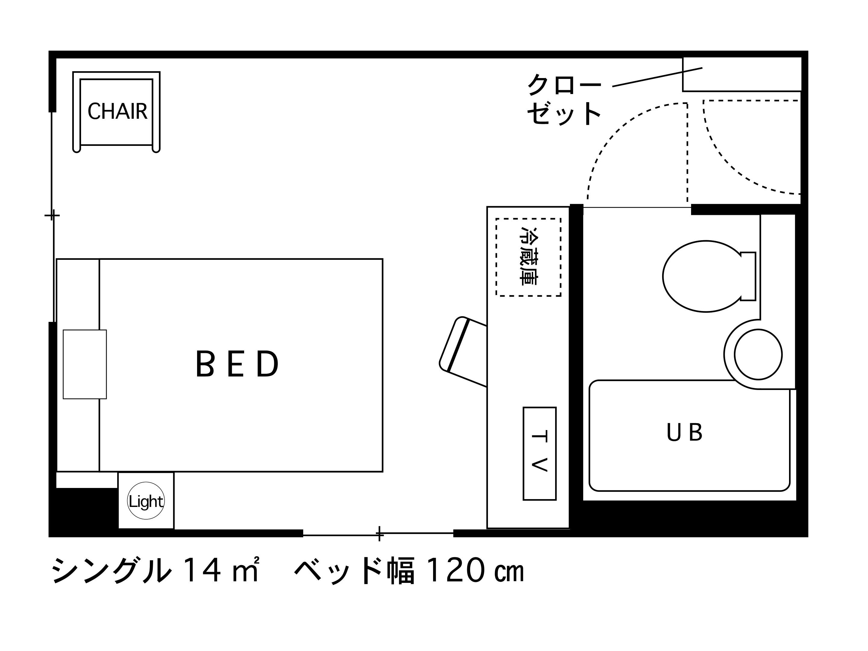 ホテルエリアワン高松 / 禁煙☆シングル【14平米・広々セミダブルベッド】