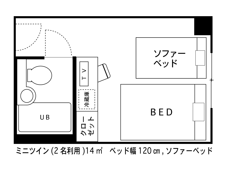 ホテルエリアワン高松 / 禁煙☆ミニツイン【14平米・120cmベッド・ソファベッド】