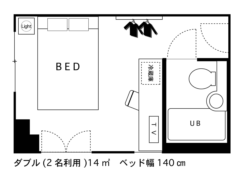 ホテルエリアワン高松 / カップル・ご夫婦で♪禁煙☆ダブル【14平米・140cmベッド】
