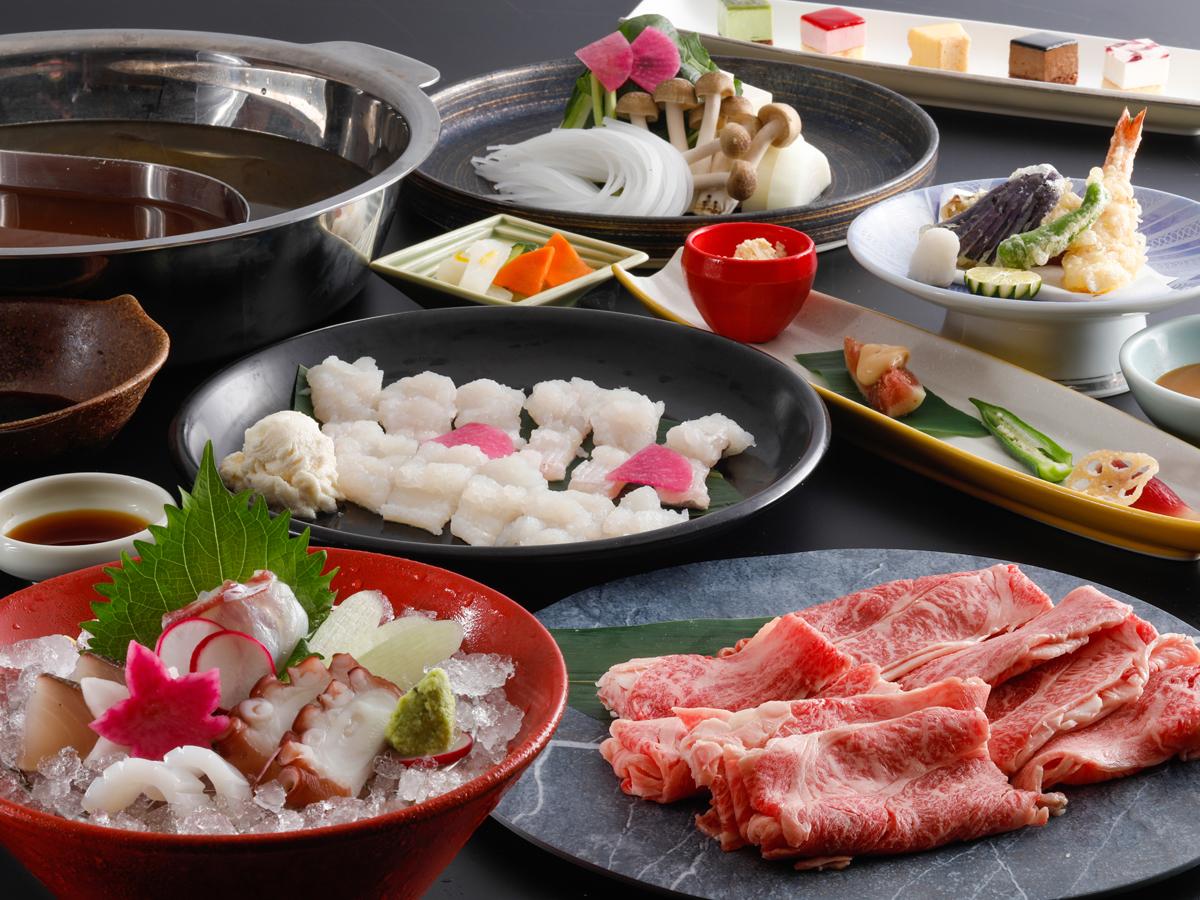 夢海游 淡路島 / 淡路牛のしゃぶしゃぶ鍋と旬魚のスープ鍋を一度に味わう欲ばり二色鍋食べ放題コース