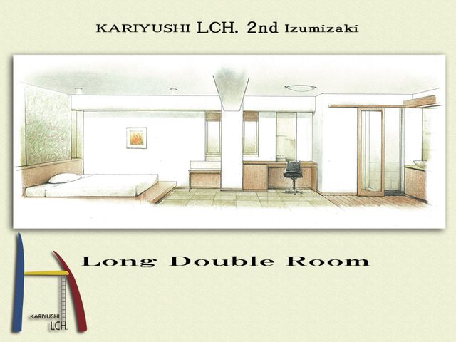 Kariyushi LCH. Izumizaki 県庁前 / 【LCH. 2nd !!】コンパクトにまとめたダブルルーム/素泊り