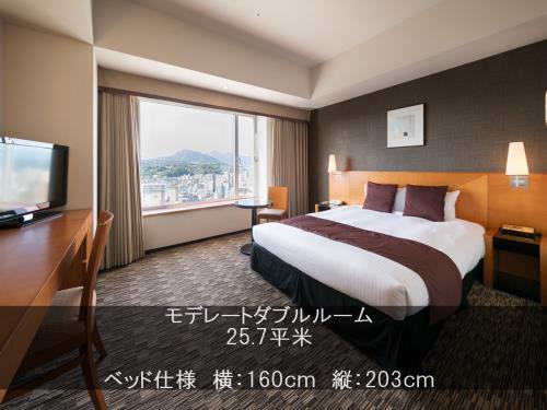 ホテル日航大分 オアシスタワー / 禁煙モデレートダブル(ベッド幅160cmなので添寝も安心♪)