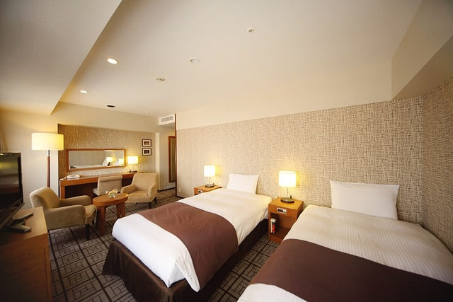 ホテルキャッスル 山形 / 【喫煙】高層階プレミアツイン/33㎡/ベッド幅110cm 2台